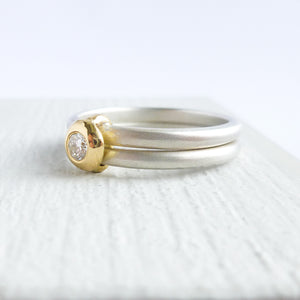 Designer contemporary modern yellow gold, silver diamond engagement ring, dress ring, eternity ring, matt brushed finish. Handmade by Sue Lane UK