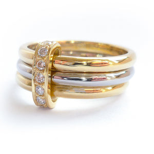 Three band gold and platinum ring with diamonds. Bespoke, contemporary and unique