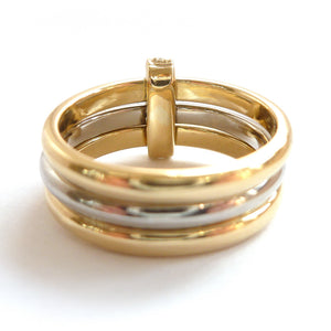 Three band gold and platinum ring with diamonds. Bespoke, contemporary and unique. Multi band ring or interlocking ring, sometimes called triple band rings too.