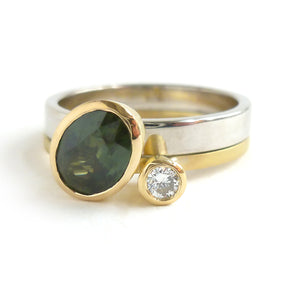 Green sapphire and diamond two band gold ring - unique and contemporary.