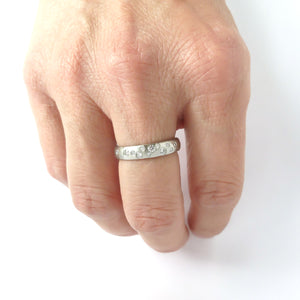Hammered platinum and diamond ring - unique, handmade and bespoke.