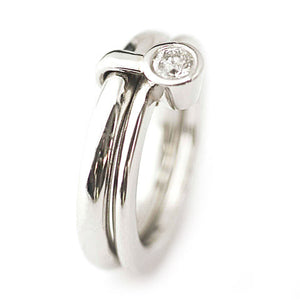 Unusual, unique, bespoke and modern chunky platinum and diamond wedding ring, engagement ring, Handmade by Sue Lane contemporary jewellery. Multi band ring or interlocking ring, sometimes called double band ring too.
