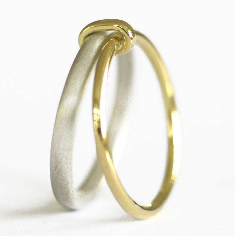 Unusual, unique, bespoke and modern women's/men's wedding ring in silver and gold. Handmade by Sue Lane Jewellery in Herefordshire, UK. Unique wedding ring.