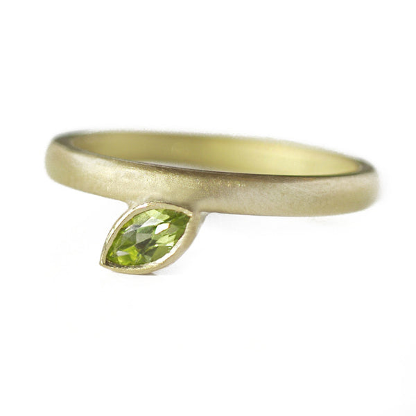 Contemporary, bespoke and modern 18k yellow gold marquise peridot ring, engagement ring, dress ring, matt brushed finish. Handmade by Sue Lane in Herefordshire