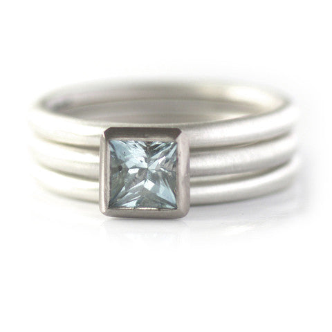 Contemporary, modern and bespoke Silver, 18k white Gold and aquamarine handmade stacking ring, by Sue Lane Jewellery. Unique, alternative engagement ring