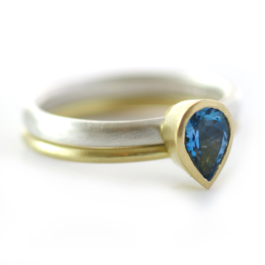 SOLD: Silver, 18k Gold and Aquamarine Ring (OF03) - Sue Lane Contemporary Jewellery - 1