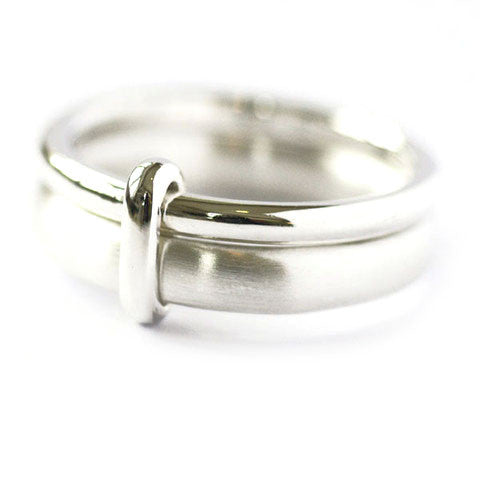 Unusual, unique, bespoke and modern two band silver ring with a brushed finish. Handmade by Sue Lane Contemporary Jewellery in Herefordshire, UK.