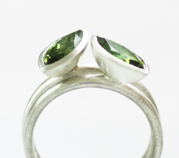 Silver and green touramaline ring (rspo2) - Sue Lane Contemporary Jewellery - 2
