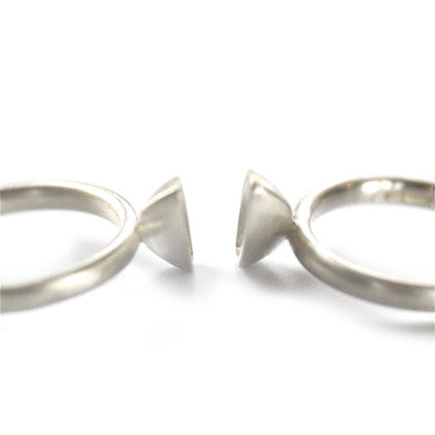 Unusual, unique, bespoke and modern two band stacking silver pod ringset with a brushed finish. Handmade by Sue Lane Contemporary Jewellery in Herefordshire, UK