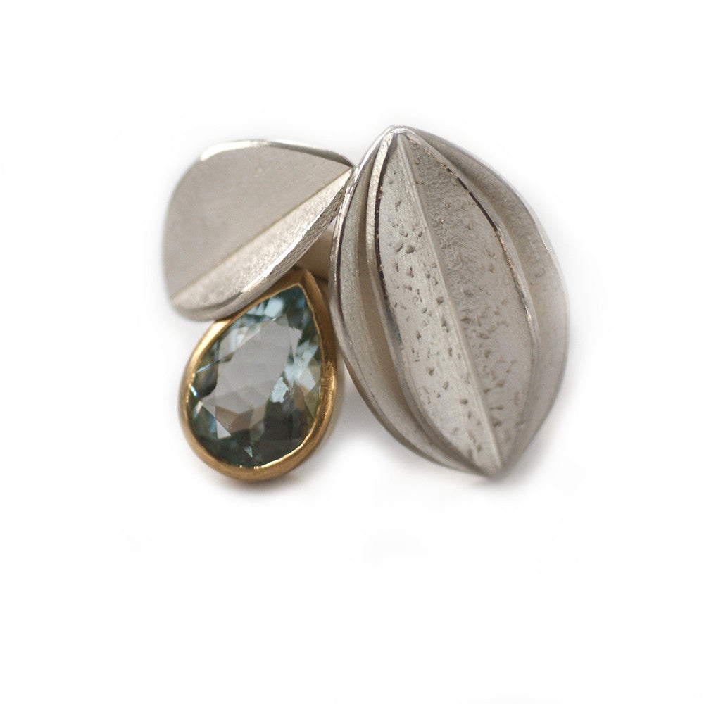 SOLD: Silver, 18k Gold and Aquamarine Ring (OF08) - Sue Lane Contemporary Jewellery