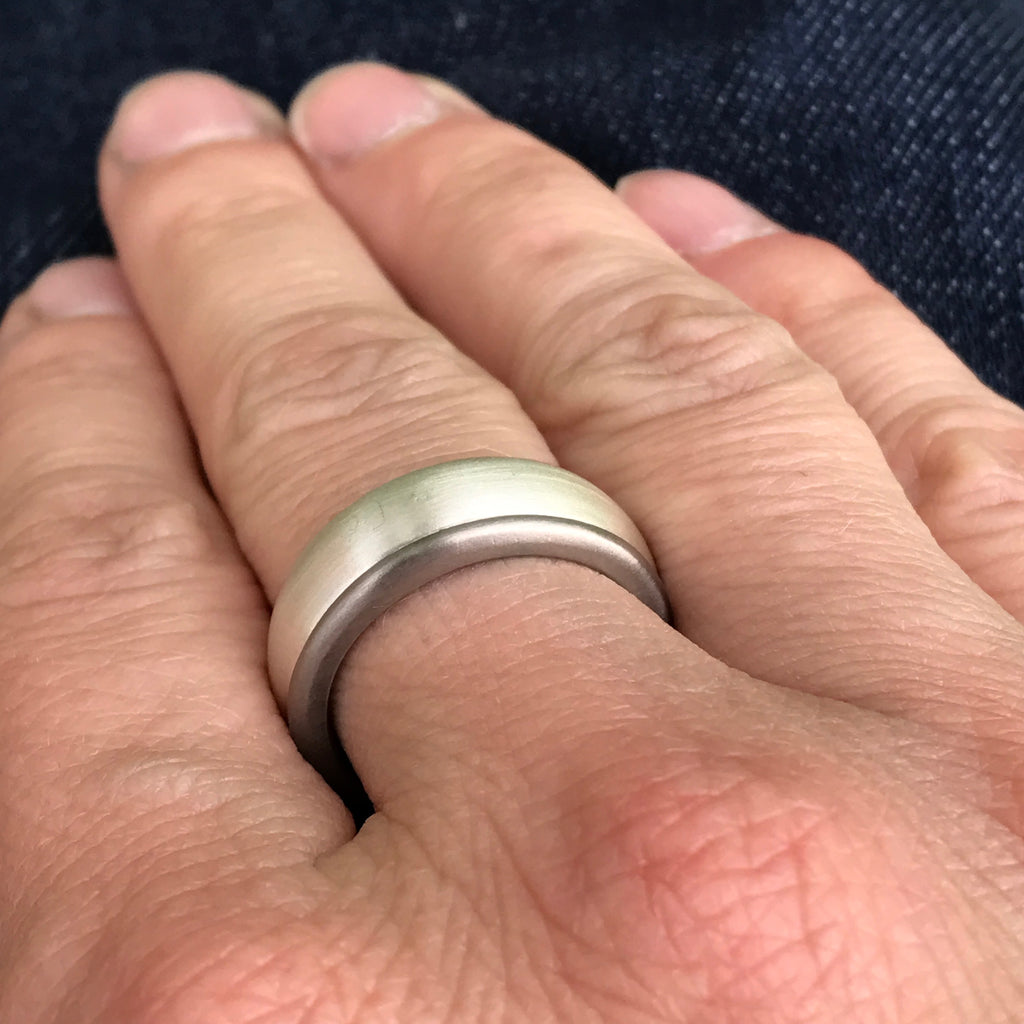 9mm wide mens ring in white gold and silver