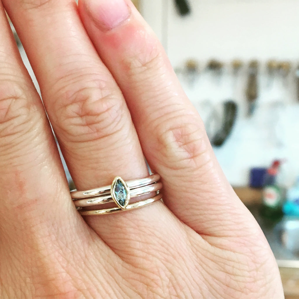 silver gold and aquamarine stacking ring set