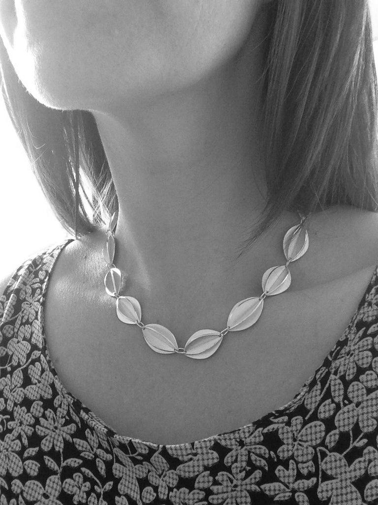 Silver Fold Necklace (fdsn12) - Sue Lane Contemporary Jewellery - 3