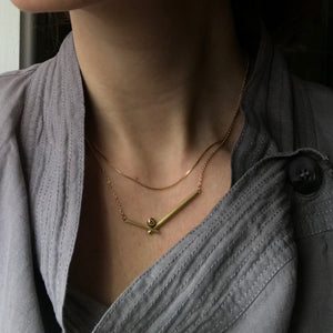 modern yellow gold and diamond stacking necklace perfect on its own or with your own chains