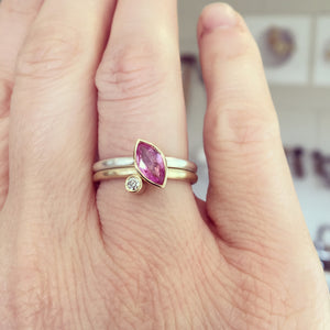 brushed silver and gold modern ring with pink sapphire and diamond