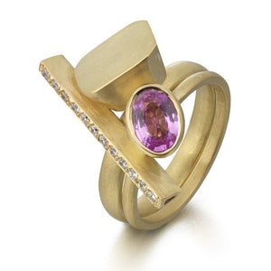 bespoke yellow gold and pink sapphire two band stacking ringset designed and made by Sue Lane