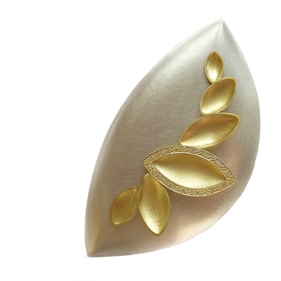 Contemporary and modern 18k gold and diamond unique one off brooch handmade to commission by Sue Lane jewellery UK