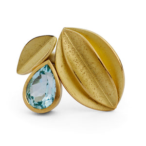 SOLD: Silver, 18k Gold and Aquamarine Ring (OF05) - Sue Lane Contemporary Jewellery