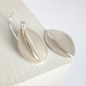Medium Silver Fold Leaf Earrings - Contemporary, Bespoke and Modern