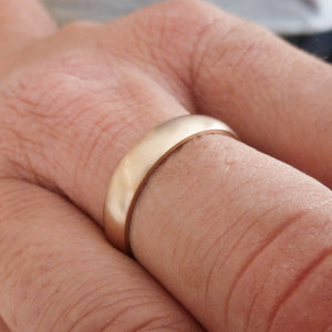 Contemporary mens 18ct rose gold wedding ring / band handmade hammered polished or matt