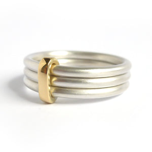 Modern unique and bespoke contemporary silver gold and diamond two band stacking ring by Sue Lane