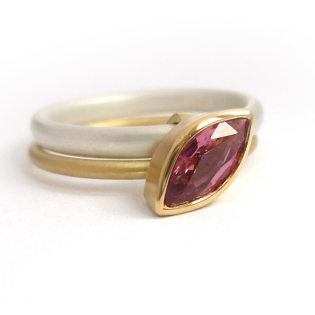 Modern stacking ring in silver and 18ct yellow gold with marquise pink sapphire handmade and bespoke