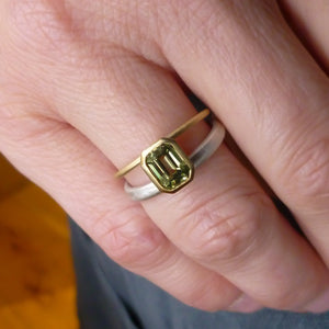 Octagonal green sapphire two tone dress or engagement ring - silver gold and contemporary.