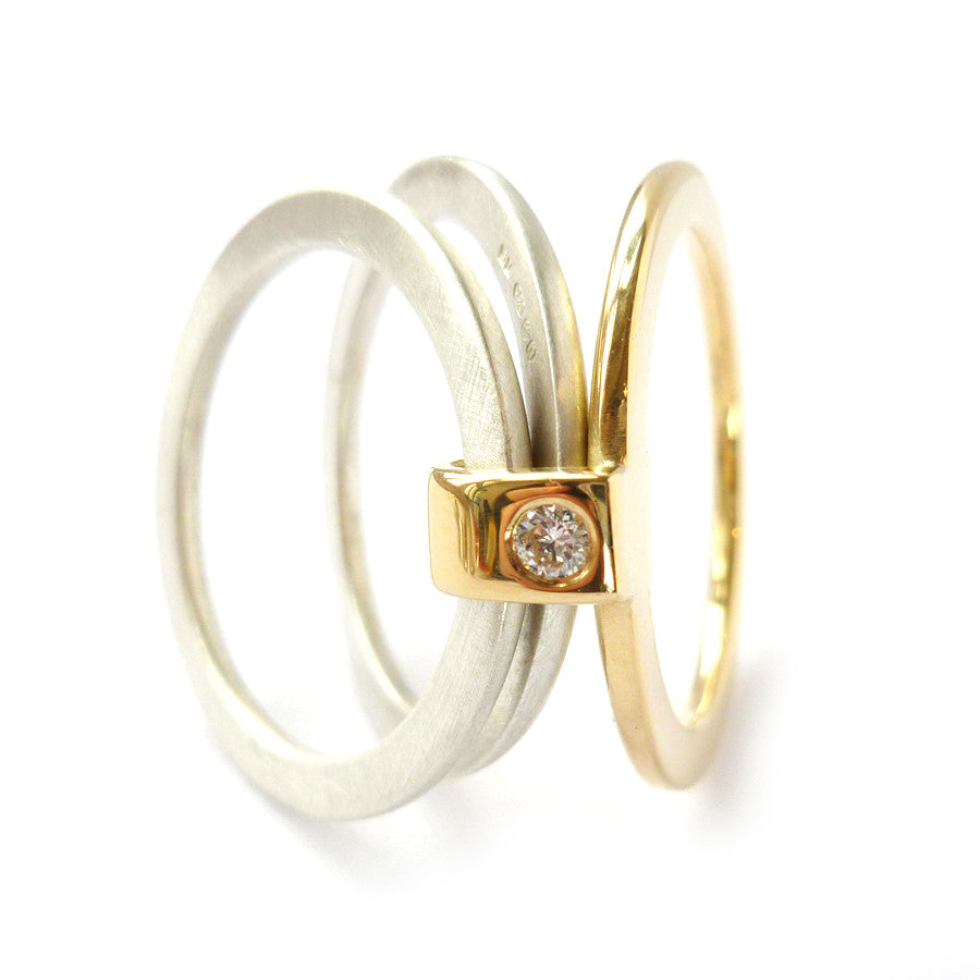 Contemporary, bespoke and modern 18k yellow gold, silver diamond engagement ring, dress ring, eternity ring, matt brushed finish. Handmade by Sue Lane UK