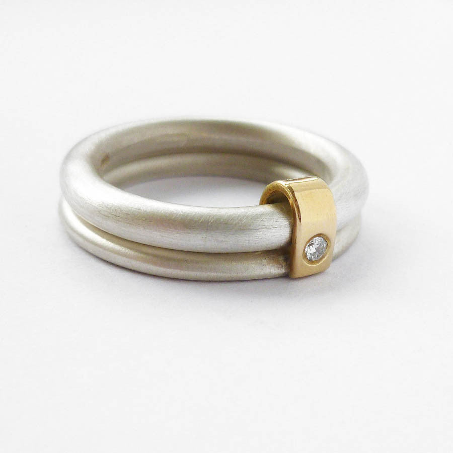 Silver and 18k gold ring with diamond (nr1) - Sue Lane Contemporary Jewellery - 1