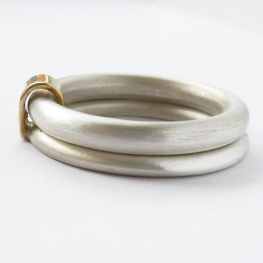 Silver and 18k gold ring with diamond (nr1) - Sue Lane Contemporary Jewellery - 3