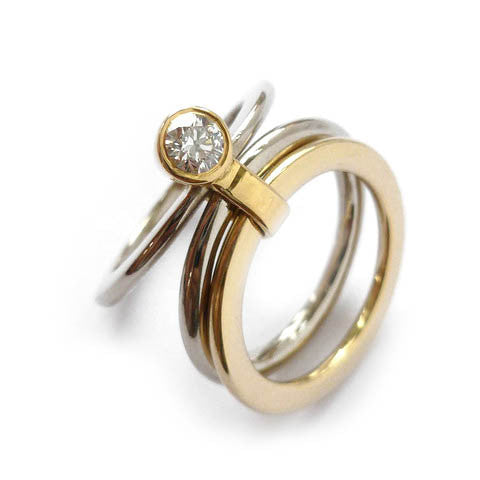 18k White and Yellow Gold Ring (rd13) - Sue Lane Contemporary Jewellery - 5