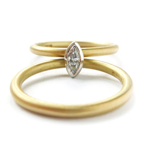 Contemporary, modern and bespoke 18k yellow gold and platinum marquise diamond ring. Handmade stacking ring by Sue Lane Jewellery. A unique engagement ring. Multi band ring or interlocking ring.