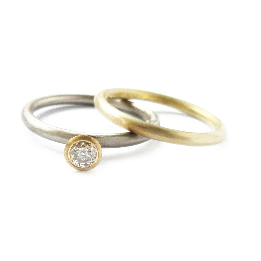 Usual, unique, bespoke and modern 18k yellow gold delicate stacking wedding ring, eternity ring, brushed finish. Handmade by designer Sue Lane in Herefordshire