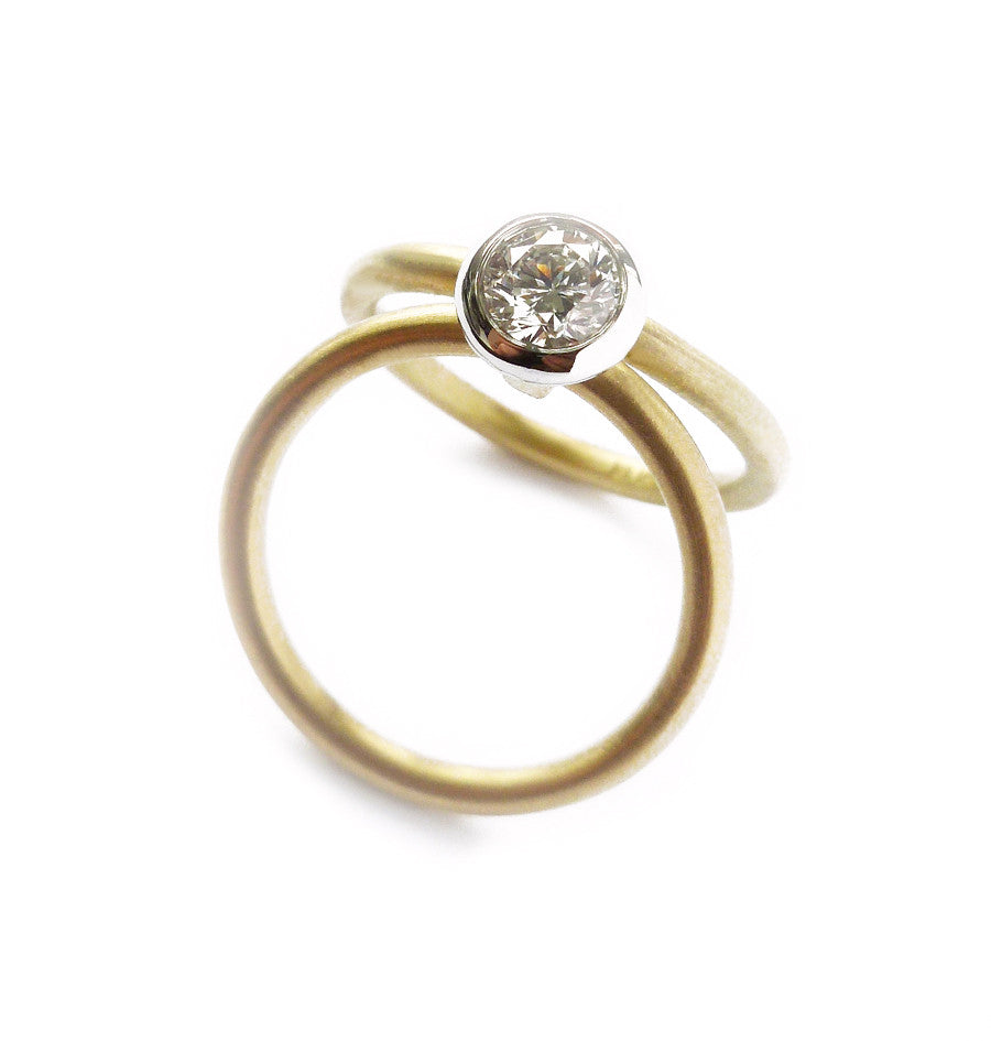 Contemporary, bespoke and modern 18k yellow gold and platinum diamond two band stacking wedding ring, engagement ring, matt brushed finish. Multi band ring or interlocking ring, sometimes called double band ring too.