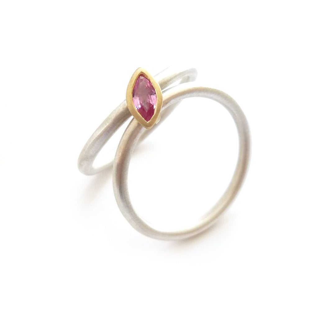 Silver, 18k gold and pink sapphire ring (nr6psap)
