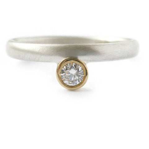 Contemporary, bespoke and modern 18k yellow gold, silver diamond engagement ring, dress ring, eternity ring, matt brushed finish. Handmade by Sue Lane in Herefordshire, UK
