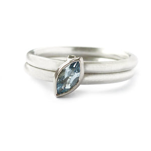 Contemporary, unusual, modern and bespoke wedding and engagement ring, stacking aquamarine ring handmade by Sue Lane Jewellery in the UK
