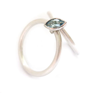 unusual, modern and bespoke wedding and engagement ring, stacking aquamarine ring handmade by Sue Lane Jewellery in the UK