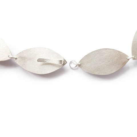 Contemporary, unique, bespoke and modern linked silver necklace / chain. Matt /brushed finished. Handmade by Sue Lane jewellery, UK