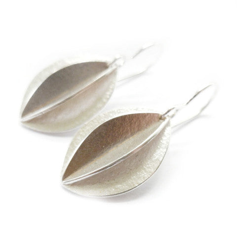 Medium Silver Fold Earrings (fd-02) - Sue Lane Contemporary Jewellery - 5
