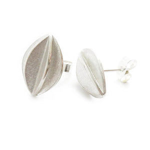 Contemporary, bespoke and modern silver stud and hook earrings with a matt brushed finish. Handmade by Sue Lane in Herefordshire, UK, 21st birthday gift,
