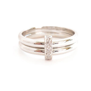Unusual, unique, bespoke and modern pave diamond and platinum wedding ring, eternity ring, engagement ring, Handmade by Sue Lane Jewellery in Herefordshire, UK