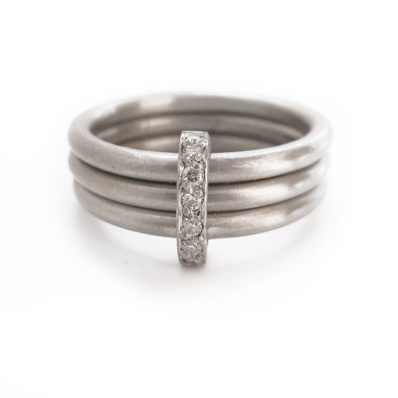 Unusual, unique, bespoke and modern palladium and diamond wedding ring, contemporary eternity ring, engagement ring, Handmade by Sue Lane in Herefordshire, UK