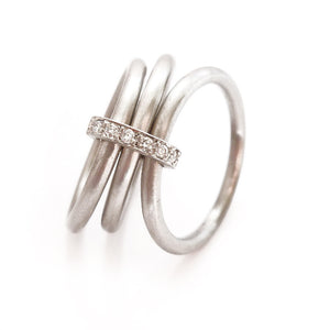 Unusual, unique, bespoke and modern Platinum and diamond wedding ring, contemporary eternity ring, engagement ring, Handmade by Sue Lane in Herefordshire, UK