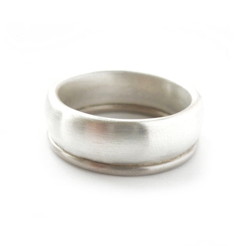 Unusual, unique, bespoke and modern men's wedding ring in silver and gold. Handmade by Sue Lane Jewellery in Herefordshire, UK. Unique wedding ring.