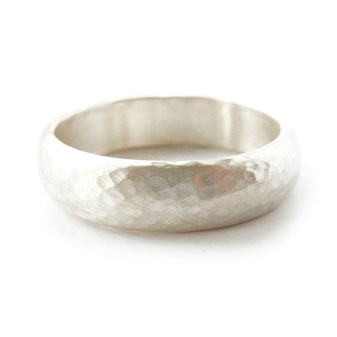 Contemporary, unique, bespoke and modern hammered silver mens wedding ring, engagement ring, matt brushed finish. Handmade by Sue Lane jewellery, UK