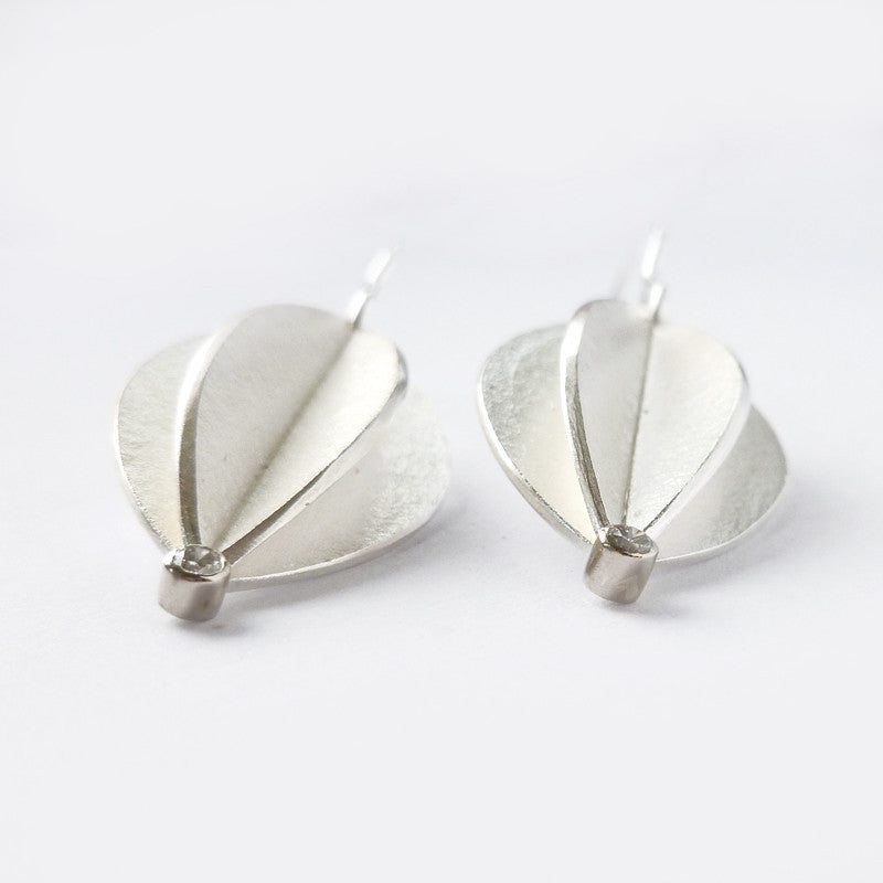 Silver and diamond hook earrings (fd-03) - Sue Lane Contemporary Jewellery - 3