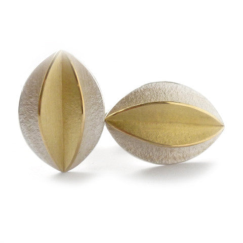 Contemporary, bespoke and modern silver and gold men's cufflinks with a matt brushed finish. Handmade by Sue Lane in Herefordshire, UK