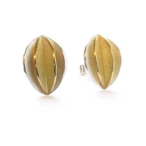 Contemporary, bespoke and modern silver and gold stud earrings with a matt brushed finish. Handmade by Sue Lane in Herefordshire, UK
