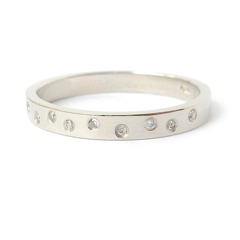 Usual, unique, bespoke and modern palladium and diamond wedding ring, eternity ring, engagement ring, Handmade by Sue Lane in Herefordshire, UK